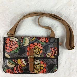 FOSSIL Floral Crossbody Coated Canvas Bag Purse